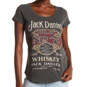 Lucky Brand Jack Daniels Distressed Gray Tee M